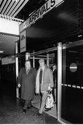 11 February 1986; Jack Charlton, accompanied by Joe Delaney, assistant honorary treasurer of the FAI, arrives at Dublin airport four days after his appointment as Republic of Ireland manager. Dublin. Photo by Ray McManus/Sportsfile