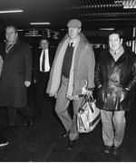 11 February 1986; Jack Charlton, accompanied by Des Casey, right, and Joe Delaney, assistant honorary treasurer of the FAI, arrives at Dublin airport four days after his appointment as Republic of Ireland manager. Dublin. Photo by Ray McManus/Sportsfile