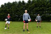 10 June 2020; Athy and Kildare team-mates, from left, Niall Kelly, Kevin Feely and David Hyland photographed before a training session at a community pitch in Athy, Kildare. Following restrictions imposed by the Irish Government and the Health Service Executive in an effort to contain the spread of the Coronavirus (COVID-19) pandemic, all GAA facilities closed on March 25. Pitches are due to fully open to club members for training on June 29, and club matches provisionally due to start on July 31 with intercounty matches due to to take place no sooner that October 17. Photo by Piaras Ó Mídheach/Sportsfile