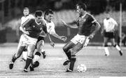 11 June 1990; Kevin Sheedy, left, and Mick McCarthy of Republic of Ireland in action against Peter Beardsley of England during the FIFA World Cup 1990 Group F match between England and Republic of Ireland at Stadio Sant'Elia in Cagliari, Italy. Photo by Ray McManus/Sportsfile