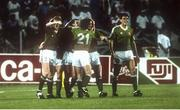11 June 1990; Kevin Sheedy of Republic of Ireland, 2nd from left, celebrates after scoring his side's goal with team-mates Steve Staunton, Ray Houghton, Andy Townsend and Tony Cascarino during the FIFA World Cup 1990 Group F match between England and Republic of Ireland at Stadio Sant'Elia in Cagliari, Italy. Photo by Ray McManus/Sportsfile