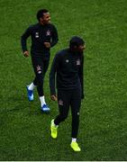 10 June 2020; Nathan Oduwa, right, and Lido Lotefa during a Dundalk training session at Oriel Park in Dundalk, Louth. Following approval from the Football Association of Ireland and the Irish Government, the four European qualified SSE Airtricity League teams resumed collective training. On March 12, the FAI announced the cessation of all football under their jurisdiction upon directives from the Irish Government, the Department of Health and UEFA, due to the outbreak of the Coronavirus (COVID-19) pandemic. Photo by Ben McShane/Sportsfile