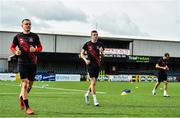 10 June 2020; Players, from left, Darragh Leahy, Daniel Kelly and Stefan Colovic during a Dundalk training session at Oriel Park in Dundalk, Louth. Following approval from the Football Association of Ireland and the Irish Government, the four European qualified SSE Airtricity League teams resumed collective training. On March 12, the FAI announced the cessation of all football under their jurisdiction upon directives from the Irish Government, the Department of Health and UEFA, due to the outbreak of the Coronavirus (COVID-19) pandemic. Photo by Ben McShane/Sportsfile