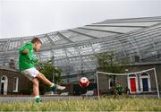 14 June 2020; Havelock Square residents Johnny Murphy, age 8, left, takes a shot on his friend Paddy Allen, age 7, during a kickabout on Havelock Square in the shadow of the Aviva Stadium in Dublin. Monday 15 June 2020 was the scheduled date for the opening game in Dublin of UEFA EURO 2020, the Group E opener between Poland and Play-off B Winner. UEFA EURO 2020, to be held in 12 European cities across 12 UEFA countries, was originally scheduled to take place from 12 June to 12 July 2020. On 17 March 2020, UEFA announced that the tournament would be delayed by a year due to the COVID-19 pandemic in Europe, and proposed it take place from 11 June to 11 July 2021. Photo by Stephen McCarthy/Sportsfile