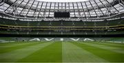 14 June 2020; A general view of the Aviva Stadium in Dublin. Monday 15 June 2020 was the scheduled date for the opening game in Dublin of UEFA EURO 2020, the Group E opener between Poland and Play-off B Winner. UEFA EURO 2020, to be held in 12 European cities across 12 UEFA countries, was originally scheduled to take place from 12 June to 12 July 2020. On 17 March 2020, UEFA announced that the tournament would be delayed by a year due to the COVID-19 pandemic in Europe, and proposed it take place from 11 June to 11 July 2021. Photo by Stephen McCarthy/Sportsfile