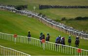15 June 2020; Alexei Vronsky, third from right, with Billy Lee up, races alongside eventual second place Dazzling Darren, left, with Conor Maxwell up, on their way to winning the Global Rossie Day On 21st June Handicap at Roscommon Racecourse in Roscommon. Horse racing has been allowed to resume from June 8 under the Irish Government's Roadmap for Reopening of Society and Business following strict protocols of social distancing and hand sanitisation among others allowing it to return in a phased manner, having been suspended from March 25 due to the Irish Government's efforts to contain the spread of the Coronavirus (COVID-19) pandemic. Photo by Seb Daly/Sportsfile