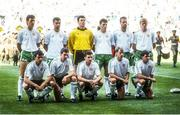 17 June 1990; The Republic of Ireland team, back row, from left, Tony Cascarino, Paul McGrath, Packie Bonner, Andy Townsend, Mick McCarthy and Steve Staunton, with, front, from left, Kevin Moran, Kevin Sheedy, John Aldridge, Chris Morris and Ray Houghton prior to the FIFA World Cup 1990 Group F match between Republic of Ireland and Egypt at Stadio La Favorita in Palermo, Italy. Photo by Ray McManus/Sportsfile