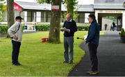17 June 2020; Trainer Johnny Murtagh is interviewed by racing media Ryan McElligott and Alan MaGee, right, after his horse So Suave won the MansionBet Proud To Support Irish Racing Handicap at Gowran Park Racecourse in Kilkenny. Horse racing has been allowed to resume on June 8 under the Irish Government's Roadmap for Reopening of Society and Business following strict protocols of social distancing and hand sanitisation among others allowing it to return in a phased manner, having been suspended from March 25 due to the Irish Government's efforts to contain the spread of the Coronavirus (COVID-19) pandemic.  Photo by Matt Browne/Sportsfile