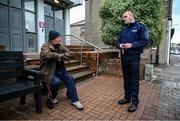 "17 June 2020; Professional boxer and member of An Garda Síochána Niall Kennedy has a friendly conversation with local resident Paul ""Purple"" Flynn while on duty out of Wicklow Garda Station. Photo by Stephen McCarthy/Sportsfile"