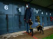 18 June 2020; Trainer William Murphy with Woodgrove Moll ahead of the Failte go dti na Gortana Taispeaineach 525 Stakes at Enniscorthy Greyhound Stadium in Wexford. Greyhound racing across the Republic of Ireland returned, on 18 June, as restrictions on sporting events are relaxed during the Coronavirus (COVID-19) pandemic. Photo by Stephen McCarthy/Sportsfile