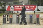 18 June 2020; PJ Roberts, control steward, gives the all clear ahead of The Book Your Gala Race Night for 2020 Stakes Stakes at Enniscorthy Greyhound Stadium in Wexford. Greyhound racing across the Republic of Ireland returned, on 18 June, as restrictions on sporting events are relaxed during the Coronavirus (COVID-19) pandemic. Photo by Stephen McCarthy/Sportsfile