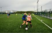 19 June 2020; Karen Duggan, right, and Stephanie Roche during a Peamount United squad training session in Greenogue in Newcastle, Dublin. Following approval from the Football Association of Ireland and the Irish Government, a number of national league teams have been allowed to resume collective training. On March 12, the FAI announced the cessation of all football under their jurisdiction upon directives from the Irish Government, the Department of Health and UEFA, in an effort to contain teh spread of the Coronavirus (COVID-19) pandemic. Photo by David Fitzgerald/Sportsfile