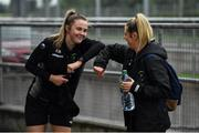 19 June 2020; Chloe Moloney, left, and Lauren Kelly greet each other prior to a Peamount United squad training session in Greenogue in Newcastle, Dublin. Following approval from the Football Association of Ireland and the Irish Government, a number of national league teams have been allowed to resume collective training. On March 12, the FAI announced the cessation of all football under their jurisdiction upon directives from the Irish Government, the Department of Health and UEFA, in an effort to contain the spread of the Coronavirus (COVID-19) pandemic. Photo by David Fitzgerald/Sportsfile