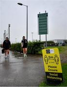 19 June 2020; Eleanor Ryan Doyle, left, and Chloe Moloney arrive prior to a Peamount United squad training session in Greenogue in Newcastle, Dublin. Following approval from the Football Association of Ireland and the Irish Government, a number of national league teams have been allowed to resume collective training. On March 12, the FAI announced the cessation of all football under their jurisdiction upon directives from the Irish Government, the Department of Health and UEFA, in an effort to contain the spread of the Coronavirus (COVID-19) pandemic. Photo by David Fitzgerald/Sportsfile