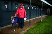 18 June 2020; Trainer Kathleen Stamp with Glenbrine Rescue ahead of the The TrackSide Diner Five-2-Five Stakes at Enniscorthy Greyhound Stadium in Wexford. Greyhound racing across the Republic of Ireland returned, on 18 June, as restrictions on sporting events are relaxed during the Coronavirus (COVID-19) pandemic. Photo by Stephen McCarthy/Sportsfile