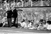 21 June 1990; Republic of Ireland assistant manager Maurice Setters, left, and manager Jack Charlton during the FIFA World Cup 1990 Group F match between Republic of Ireland and Netherlands at Stadio La Favorita in Palermo, Italy. Photo by Ray McManus/Sportsfile