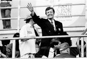 21 June 1990; FAI President Fran Fields waves to supporters before the FIFA World Cup 1990 Group F match between Republic of Ireland and Netherlands at Stadio La Favorita in Palermo, Italy. Photo by Ray McManus/Sportsfile