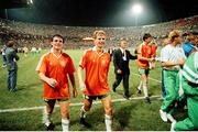 21 June 1990; Ray Houghton, left, and Chris Morris of Republic of Ireland after the FIFA World Cup 1990 Group F match between Republic of Ireland and Netherlands at Stadio La Favorita in Palermo, Italy. Photo by Ray McManus/Sportsfile