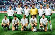 21 June 1990; The Republic of Ireland team, back row, from left, Kevin Moran, Niall Quinn, Paul mcGrath, Packie Bonner, Mick McCarthy and Steve Staunton, with, front, from left, John Aldridge, Andy Townsend, Chris Morris, Kevin Sheedy and Ray Houghton prior to the FIFA World Cup 1990 Group F match between Republic of Ireland and Netherlands at Stadio La Favorita in Palermo, Italy. Photo by Ray McManus/Sportsfile