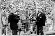 21 June 1990; President of the FAI Fran Fields, right with Opel Ireland Managing Director Arnold O'Byrne prior to the FIFA World Cup 1990 Group F match between Republic of Ireland and Netherlands at Stadio La Favorita in Palermo, Italy. Photo by Ray McManus/Sportsfile