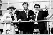 21 June 1990; Deborah Fields with her dad FAI President Fran Fields and  Minister of State at the Department of Education Frank Fahy, T.D., right, before the FIFA World Cup 1990 Group F match between Republic of Ireland and Netherlands at Stadio La Favorita in Palermo, Italy. Photo by Ray McManus/Sportsfile