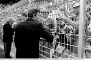 21 June 1990; President of the FAI Fran Fields meets with supporters prior to the FIFA World Cup 1990 Group F match between Republic of Ireland and Netherlands at Stadio La Favorita in Palermo, Italy. Photo by Ray McManus/Sportsfile