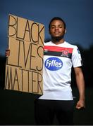 21 June 2020; Dundalk soccer player Lido Lotefa. To The New Generation is a series of portraits of Black athletes in Ireland, representing their communities and families, and in some instances Ireland, in a variety of sports, including athletics, basketball, GAA, rugby and soccer. Their stories reflect a contemporary and multicultural Ireland and Ireland's place in the world, moving more and more from an emigrant nation to an immigrant nation offering hope and a life to many people from beyond our shores. Photo by Ramsey Cardy/Sportsfile