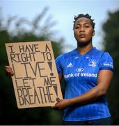 21 June 2020; Leinster and Ireland rugby player Linda Djougang in Drumcondra, Dublin. To The New Generation is a series of portraits of Black athletes in Ireland, representing their communities and families, and in some instances Ireland, in a variety of sports, including athletics, basketball, GAA, rugby and soccer. Their stories reflect a contemporary and multicultural Ireland and Ireland's place in the world, moving more and more from an emigrant nation to an immigrant nation offering hope and a life to many people from beyond our shores. Photo by Ramsey Cardy/Sportsfile