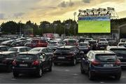 21 June 2020; A general view of Irish soccer supporters watching the English Premier League merseyside derby match between Everton and Liverpool at Goodison Park from a Drive In Theatre showing the game on Sky TV at the RDS Arena in Dublin. Due to the restrictions imposed by both Governments on non essential travel to help contain the spread of the Coronavirus (COVID-19) pandemic, supporters have not discouraged from travelling. Research published in 2015 estimated that out of 800,000 people that travelled to the UK to watch a football game every year, 121,000 travelled from Ireland. Photo by David Fitzgerald/Sportsfile