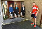 22 June 2020; Monaleen GAA player Daniel Power delivers shopping to The Sisters of the Little Company of Mary from left, Sister Alice Culhane, Sister Breda Conway and Sister Denise Maher in Milford, Limerick. GAA clubs nationwide help out their local communities during restrictions imposed by the Irish Government in an effort to contain the spread of the Coronavirus (COVID-19) pandemic. GAA facilities reopened on Monday June 8 for the first time since March 25 with club matches provisionally due to start on July 31 and intercounty matches due to to take place no sooner that October 17. Photo by Eóin Noonan/Sportsfile
