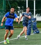 22 June 2020; Rory O'Loughlin, right, and Cian Kelleher during Leinster rugby squad training at UCD in Dublin. Rugby teams have been approved for return of restricted training under IRFU and the Irish Government's Roadmap for Reopening of Society and Business following strict protocols of social distancing and hand sanitisation among other measures allowing it to return in a phased manner, having been suspended since March due to the Irish Government's efforts to contain the spread of the Coronavirus (COVID-19) pandemic. Photo by Marcus Ó Buachalla for Leinster Rugby via Sportsfile