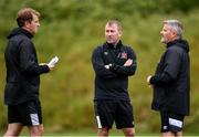 23 June 2020; Dundalk management, from left, manager Vinny Perth, newly appointed assistant manager Alan Reynolds and first team coach John Gill during a Dundalk training session at Oriel Park in Dundalk, Louth. Following approval from the Football Association of Ireland and the Irish Government, the four European qualified SSE Airtricity League teams resumed collective training. On March 12, the FAI announced the cessation of all football under their jurisdiction upon directives from the Irish Government, the Department of Health and UEFA, due to the outbreak of the Coronavirus (COVID-19) pandemic. Photo by Ben McShane/Sportsfile