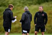 23 June 2020; Dundalk management, from left, manager Vinny Perth, first team coach John Gill and newly appointed assistant manager Alan Reynolds during a Dundalk training session at Oriel Park in Dundalk, Louth. Following approval from the Football Association of Ireland and the Irish Government, the four European qualified SSE Airtricity League teams resumed collective training. On March 12, the FAI announced the cessation of all football under their jurisdiction upon directives from the Irish Government, the Department of Health and UEFA, due to the outbreak of the Coronavirus (COVID-19) pandemic. Photo by Ben McShane/Sportsfile