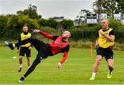 23 June 2020; Chris Shields, left, in action against Georgie Kelly during a Dundalk training session at Oriel Park in Dundalk, Louth. Following approval from the Football Association of Ireland and the Irish Government, the four European qualified SSE Airtricity League teams resumed collective training. On March 12, the FAI announced the cessation of all football under their jurisdiction upon directives from the Irish Government, the Department of Health and UEFA, due to the outbreak of the Coronavirus (COVID-19) pandemic. Photo by Ben McShane/Sportsfile