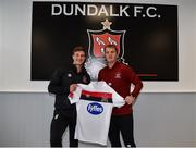 23 June 2020; Josh Gatt, left, with manager Vinny Perth following a Dundalk training session at Oriel Park in Dundalk, Louth. Following approval from the Football Association of Ireland and the Irish Government, the four European qualified SSE Airtricity League teams resumed collective training. On March 12, the FAI announced the cessation of all football under their jurisdiction upon directives from the Irish Government, the Department of Health and UEFA, due to the outbreak of the Coronavirus (COVID-19) pandemic. Photo by Ben McShane/Sportsfile