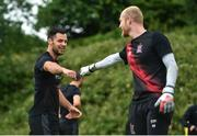 23 June 2020; Patrick Hoban, left, with Aaron McCarey during a Dundalk training session at Oriel Park in Dundalk, Louth. Following approval from the Football Association of Ireland and the Irish Government, the four European qualified SSE Airtricity League teams resumed collective training. On March 12, the FAI announced the cessation of all football under their jurisdiction upon directives from the Irish Government, the Department of Health and UEFA, due to the outbreak of the Coronavirus (COVID-19) pandemic. Photo by Ben McShane/Sportsfile
