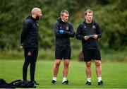 23 June 2020; Strength and conditioning coach Graham Norton, left, physiotherapist Danny Miller, centre, and manager Vinny Perth during a Dundalk training session at Oriel Park in Dundalk, Louth. Following approval from the Football Association of Ireland and the Irish Government, the four European qualified SSE Airtricity League teams resumed collective training. On March 12, the FAI announced the cessation of all football under their jurisdiction upon directives from the Irish Government, the Department of Health and UEFA, due to the outbreak of the Coronavirus (COVID-19) pandemic. Photo by Ben McShane/Sportsfile