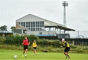 23 June 2020; Dundalk players, from left, Taner Dogan, Michael Duffy and Daniel Cleary during a Dundalk training session at Oriel Park in Dundalk, Louth. Following approval from the Football Association of Ireland and the Irish Government, the four European qualified SSE Airtricity League teams resumed collective training. On March 12, the FAI announced the cessation of all football under their jurisdiction upon directives from the Irish Government, the Department of Health and UEFA, due to the outbreak of the Coronavirus (COVID-19) pandemic. Photo by Ben McShane/Sportsfile