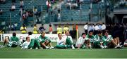 25 June 1990; Republic of Ireland manager Jack Charlton and players, from left, Chris Morris, David Kelly, Mick McCarthy, Alan McLoughlin, Paul McGrath, John Aldridge and Bernie Slaven prior to the FIFA World Cup 1990 Round of 16 match between Republic of Ireland and Romania at the Stadio Luigi Ferraris in Genoa, Italy. Photo by Ray McManus/Sportsfile
