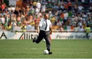 25 June 1990; Republic of Ireland manager Jack Charlton prior to the FIFA World Cup 1990 Round of 16 match between Republic of Ireland and Romania at the Stadio Luigi Ferraris in Genoa, Italy. Photo by Ray McManus/Sportsfile