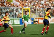 25 June 1990; Ray Houghton of Republic of Ireland in action against Ioan Andone and Iosif Rotariu of Romania during the FIFA World Cup 1990 Round of 16 match between Republic of Ireland and Romania at the Stadio Luigi Ferraris in Genoa, Italy. Photo by Ray McManus/Sportsfile