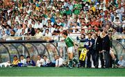 25 June 1990; David O'Leary of Republic of Ireland comes on as a substitute Steve Staunton watched by manager Jack Charlton during the FIFA World Cup 1990 Round of 16 match between Republic of Ireland and Romania at the Stadio Luigi Ferraris in Genoa, Italy. Photo by Ray McManus/Sportsfile
