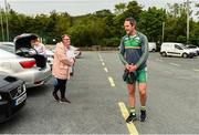 25 June 2020; Michael Murphy is welcomed back by a supporter prior to a Glenswilly GAA Club training session at Glenkerragh in Donegal. Following approval from the GAA and the Irish Government, the GAA released its safe return to play protocols, allowing pitches to be opened for non contact training on 24 June and for training and challenge games to resume from 29 June. On March 25, the GAA announced the cessation of all GAA activities and closures of all GAA facilities under their jurisdiction upon directives from the Irish Government in an effort to contain the Coronavirus (COVID-19) pandemic. Photo by Oliver McVeigh/Sportsfile