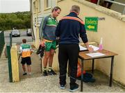 25 June 2020; Michael Murphy speaks to team offical Paul Gallagher on arrival to a Glenswilly GAA Club training session at Glenkerragh in Donegal. Following approval from the GAA and the Irish Government, the GAA released its safe return to play protocols, allowing pitches to be opened for non contact training on 24 June and for training and challenge games to resume from 29 June. On March 25, the GAA announced the cessation of all GAA activities and closures of all GAA facilities under their jurisdiction upon directives from the Irish Government in an effort to contain the Coronavirus (COVID-19) pandemic. Photo by Oliver McVeigh/Sportsfile