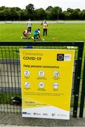 25 June 2020; A general view of a sign during a Glenswilly GAA Club training session at Glenkerragh in Donegal. Following approval from the GAA and the Irish Government, the GAA released its safe return to play protocols, allowing pitches to be opened for non contact training on 24 June and for training and challenge games to resume from 29 June. On March 25, the GAA announced the cessation of all GAA activities and closures of all GAA facilities under their jurisdiction upon directives from the Irish Government in an effort to contain the Coronavirus (COVID-19) pandemic. Photo by Oliver McVeigh/Sportsfile