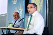 26 June 2020; Uachtarán Chumann Lúthchleas Gael John Horan,  right, and Fergal McGill, Director of Player, Club & Games Administration, during the GAA fixtures press conference at Croke Park in Dublin. The GAA announced that inter-county fixtures will resume on October 17. Following approval from the GAA and the Irish Government, the GAA released its safe return to play protocols, allowing pitches to be opened for training and challenge games from 29 June. On March 25, the GAA announced the cessation of all GAA activities and closures of all GAA facilities under their jurisdiction upon directives from the Irish Government in an effort to contain the Coronavirus (COVID-19) pandemic. Photo by Ramsey Cardy/Sportsfile