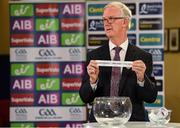 26 June 2020; Chairman of the Leinster Council of the GAA Pat Teehan draws the names Carlow / Offaly / Kildare for their round during the Leinster Hurling and Football Championship Draws at Leinster Council offices on Mountmellick Road in Portlaoise, Laois. The GAA have announced that inter-county fixtures will resume with the final rounds of the Allianz Leagues on 17/18 October and the Munster and Leinster Hurling Championships on 24/25 October and Provincial Football Championships on weekend of 31October/1 November culminating with the All-Ireland Senior Hurling and Football Finals in December. On March 25, the GAA announced the cessation of all GAA activities and closures of all GAA facilities under their jurisdiction upon directives from the Irish Government in an effort to contain the Coronavirus (COVID-19) pandemic. Photo by Brendan Moran/Sportsfile