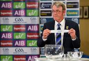26 June 2020; Chairman of the Munster Council of the GAA Liam Lenihan draws out Cork during the Munster and Leinster Hurling and Football Championship Draws at Leinster Council offices on Mountmellick Road in Portlaoise, Laois. The GAA have announced that inter-county fixtures will resume with the final rounds of the Allianz Leagues on 17/18 October and the Munster and Leinster Hurling Championships on 24/25 October and Provincial Football Championships on weekend of 31October/1 November culminating with the All-Ireland Senior Hurling and Football Finals in December. On March 25, the GAA announced the cessation of all GAA activities and closures of all GAA facilities under their jurisdiction upon directives from the Irish Government in an effort to contain the Coronavirus (COVID-19) pandemic. Photo by Brendan Moran/Sportsfile