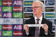 26 June 2020; Chairman of the Leinster Council of the GAA Pat Teehan draws the names Longford / Louth / Laois for their round during the Leinster Hurling and Football Championship Draws at Leinster Council offices on Mountmellick Road in Portlaoise, Laois. The GAA have announced that inter-county fixtures will resume with the final rounds of the Allianz Leagues on 17/18 October and the Munster and Leinster Hurling Championships on 24/25 October and Provincial Football Championships on weekend of 31October/1 November culminating with the All-Ireland Senior Hurling and Football Finals in December. On March 25, the GAA announced the cessation of all GAA activities and closures of all GAA facilities under their jurisdiction upon directives from the Irish Government in an effort to contain the Coronavirus (COVID-19) pandemic. Photo by Brendan Moran/Sportsfile
