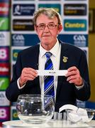 26 June 2020; Chairman of the Munster Council of the GAA Liam Lenihan draws Clare during the Munster Hurling Championship Draws at Leinster Council offices on Mountmellick Road in Portlaoise, Laois. The GAA have announced that inter-county fixtures will resume with the final rounds of the Allianz Leagues on 17/18 October and the Munster and Leinster Hurling Championships on 24/25 October and Provincial Football Championships on weekend of 31October/1 November culminating with the All-Ireland Senior Hurling and Football Finals in December. On March 25, the GAA announced the cessation of all GAA activities and closures of all GAA facilities under their jurisdiction upon directives from the Irish Government in an effort to contain the Coronavirus (COVID-19) pandemic. Photo by Brendan Moran/Sportsfile